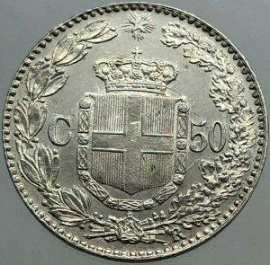 50 Centesimi 1892,ag, rif. ...