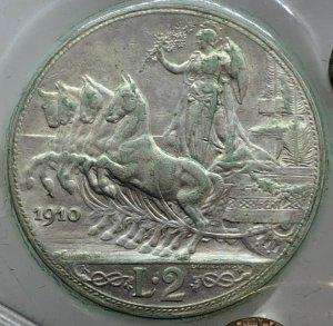 2 Lire Quadriga Veloce 1910 , Ag ...