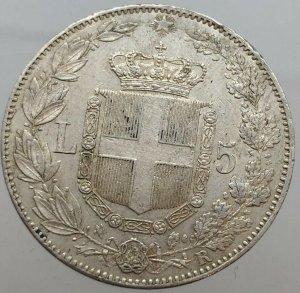 5 Lire 1879 , Ag , rif. Gigante ...