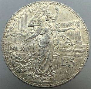 5 lire Cinquanternio 1911 , ...