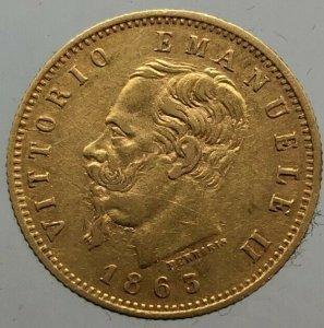 5 Lire 1863 Zecca di Torino , Au ...