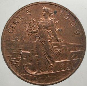 5 Centesimi Prora 1909 , Ae ...