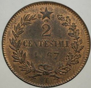 2 Centesimi 1867 Torino, Cu ...